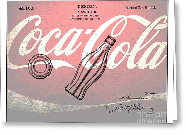 Kelly Digital Art Greeting Cards - 1915 Coca Cola Bottle Design Patent Art 3 Greeting Card by Nishanth Gopinathan
