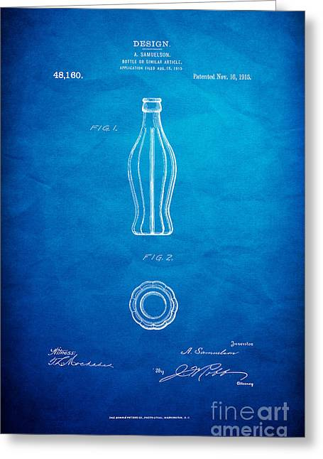 Kelly Digital Art Greeting Cards - 1915 Coca Cola Bottle Design Patent Art 7 Greeting Card by Nishanth Gopinathan