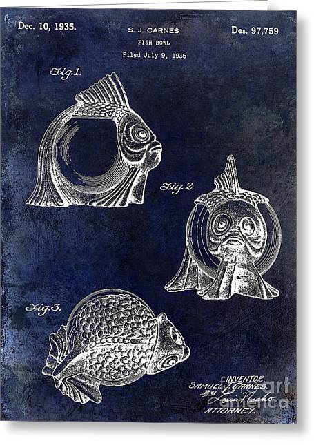 Florida Seafood Greeting Cards - 1915 Fish bowl Patent Drawing Blue Greeting Card by Jon Neidert
