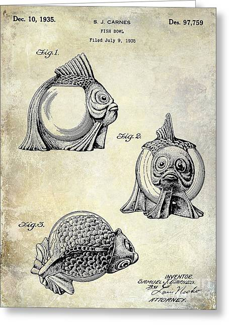 Florida Seafood Greeting Cards - 1915 Fish bowl Patent Drawing  Greeting Card by Jon Neidert