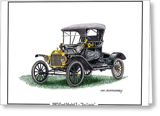 Ford Model T Car Greeting Cards - 1915 Ford Model T Poster Greeting Card by Jack Pumphrey