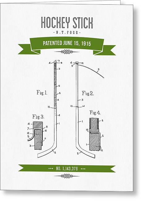 Hockey Player Greeting Cards - 1915 Hockey Stick Patent Drawing - Retro Green Greeting Card by Aged Pixel