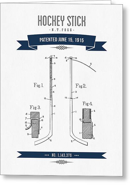 Hockey Player Greeting Cards - 1915 Hockey Stick Patent Drawing - Retro Navy Blue Greeting Card by Aged Pixel
