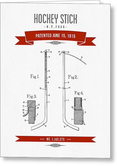 Hockey Player Greeting Cards - 1915 Hockey Stick Patent Drawing - Retro Red Greeting Card by Aged Pixel