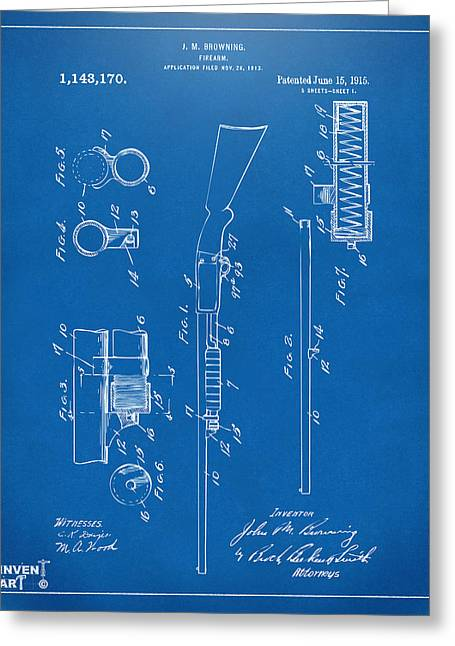 1915 Ithaca Shotgun Patent Blueprint Greeting Card by Nikki Marie Smith