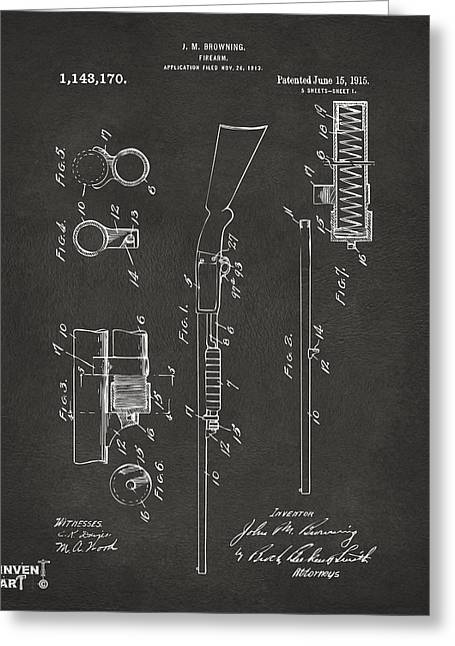 1915 Ithaca Shotgun Patent Gray Greeting Card by Nikki Marie Smith