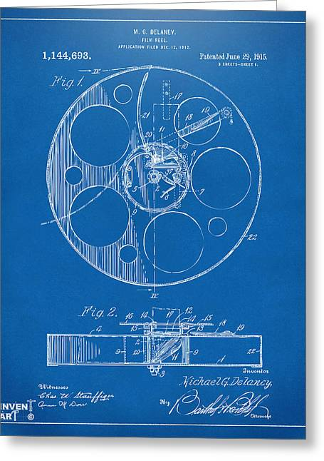 Home Theater Greeting Cards - 1915 Movie Film Reel Patent Blueprint Greeting Card by Nikki Marie Smith