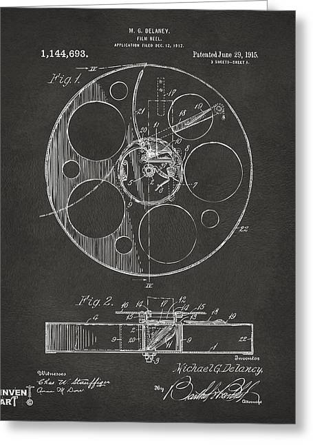 Home Theater Greeting Cards - 1915 Movie Film Reel Patent Gray Greeting Card by Nikki Marie Smith