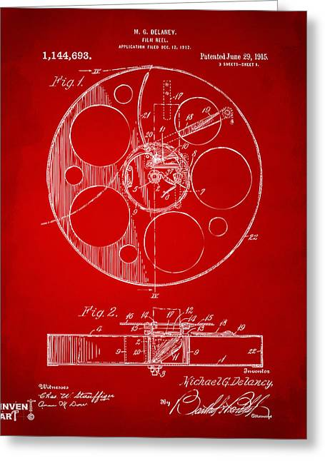 Home Theater Greeting Cards - 1915 Movie Film Reel Patent Red Greeting Card by Nikki Marie Smith