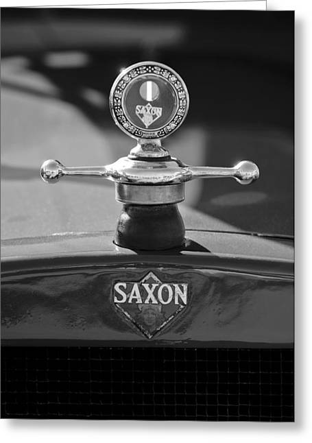 Saxon Greeting Cards - 1915 Saxon Roadster Hood Ornament 2 Greeting Card by Jill Reger