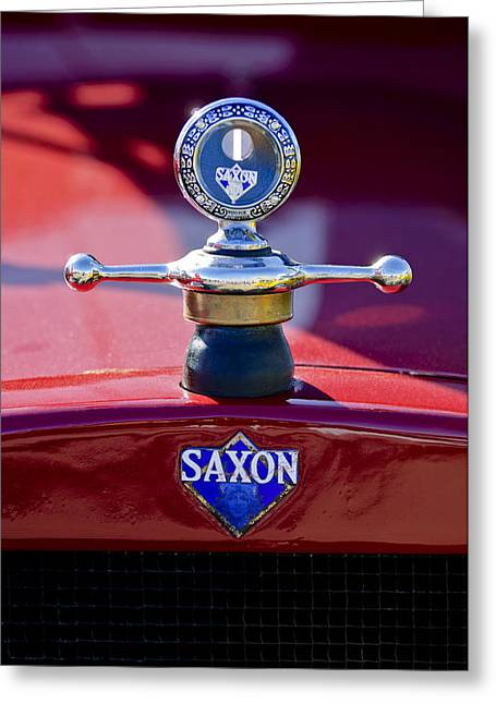 Vintage Hood Ornament Greeting Cards - 1915 Saxon Roadster Hood Ornament Greeting Card by Jill Reger