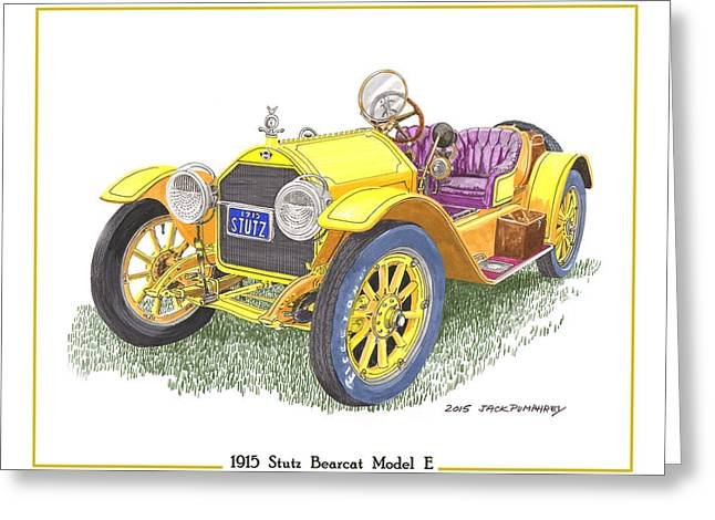 Indianapolis 500 Greeting Cards - 1915 Stutz Bearcat Greeting Card by Jack Pumphrey