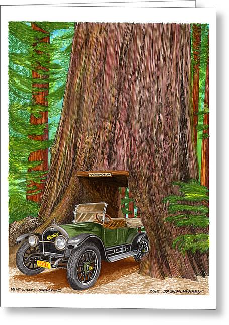 Topple Greeting Cards - 1915 Willys Overland transits Giant Redwood  Greeting Card by Jack Pumphrey