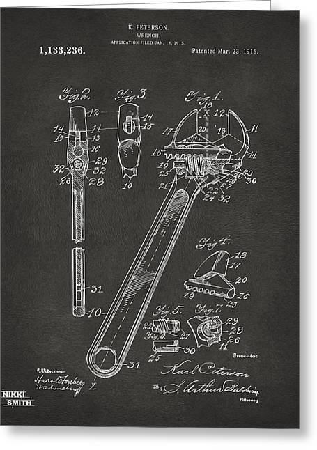 Mens Greeting Cards - 1915 Wrench Patent Artwork - Gray Greeting Card by Nikki Marie Smith