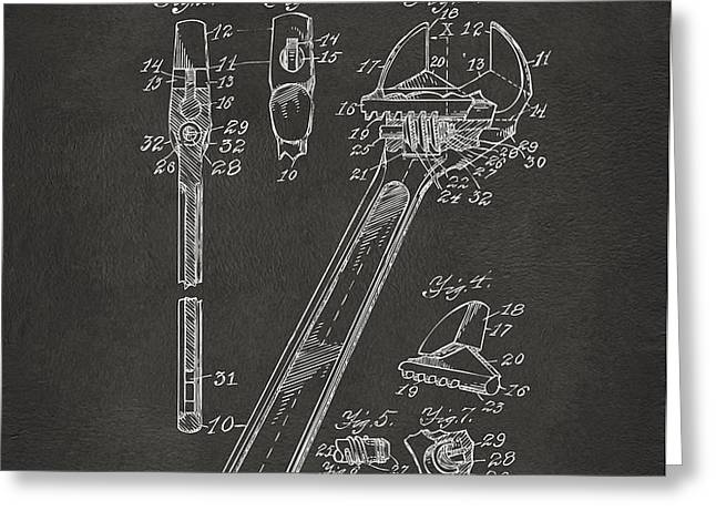 1915 Wrench Patent Artwork - Gray Greeting Card by Nikki Marie Smith