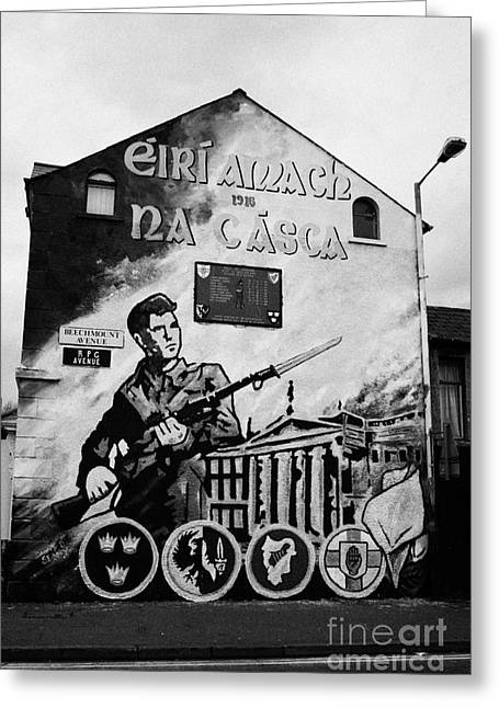 Oppression Greeting Cards - 1916 dublin easter rising commemoration republican wall mural beechmount RPG belfast Greeting Card by Joe Fox