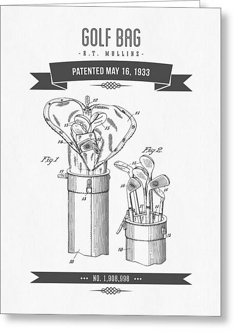 Caddy Greeting Cards - 1916 Golf Bag Patent Drawing - Retro Gray Greeting Card by Aged Pixel