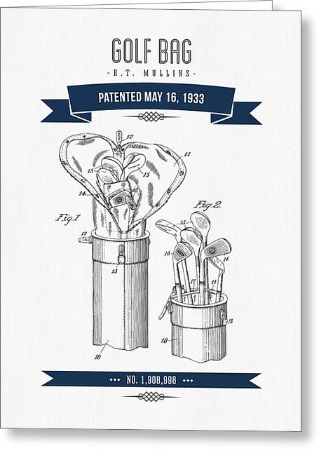 Caddy Greeting Cards - 1916 Golf Bag Patent Drawing - Retro Navy Blue Greeting Card by Aged Pixel