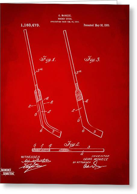 Player Digital Greeting Cards - 1916 Hockey Goalie Stick Patent Artwork - Red Greeting Card by Nikki Marie Smith