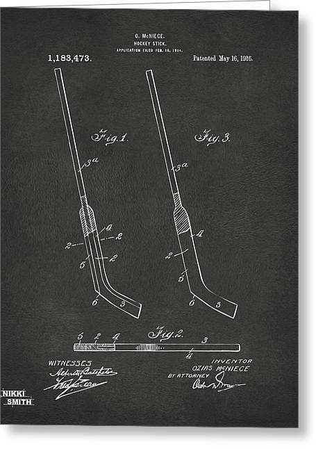 Hockey Guy Greeting Cards - 1916 Hockey Goalie Stick Patent Artwork - Gray Greeting Card by Nikki Marie Smith
