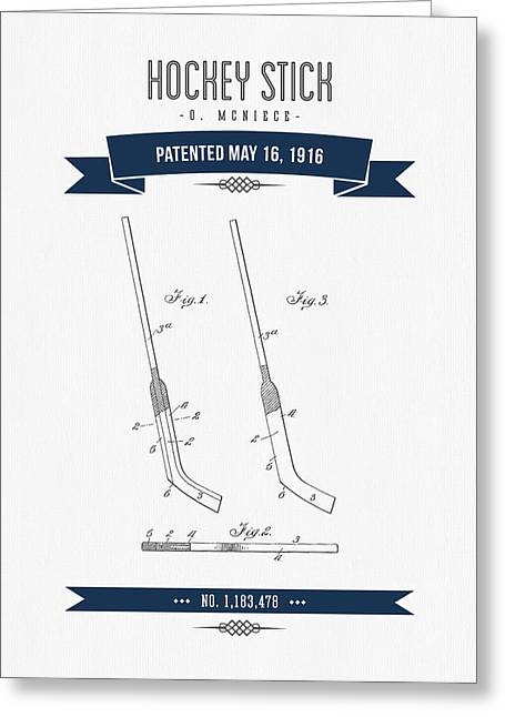Hockey Player Greeting Cards - 1916 Hockey Stick Patent Drawing - Retro Navy Blue Greeting Card by Aged Pixel