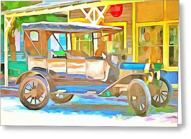 Ford Model T Car Paintings Greeting Cards - 1916 Model T Ford  Greeting Card by L Wright