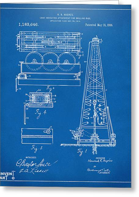 Baron Greeting Cards - 1916 Oil Drilling Rig Patent Artwork - Blueprint Greeting Card by Nikki Marie Smith