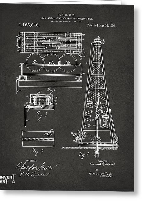 Baron Greeting Cards - 1916 Oil Drilling Rig Patent Artwork - Gray Greeting Card by Nikki Marie Smith