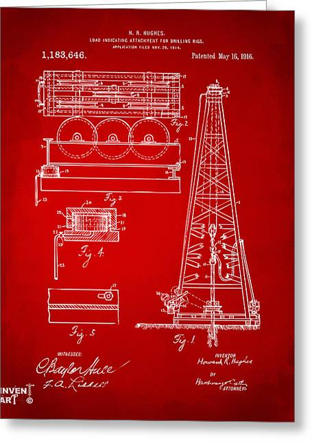 Baron Greeting Cards - 1916 Oil Drilling Rig Patent Artwork - Red Greeting Card by Nikki Marie Smith