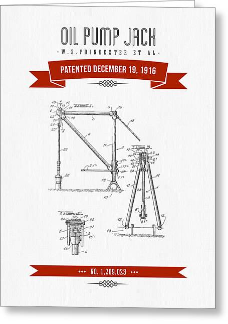 Bedroom Art Greeting Cards - 1916 Oil Pump Jack Patent Drawing - Retro Red Greeting Card by Aged Pixel