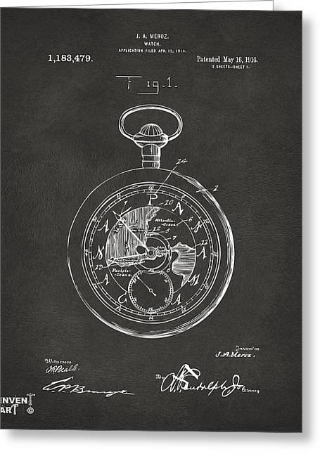 Pocket Watch Greeting Cards - 1916 Pocket Watch Patent Gray Greeting Card by Nikki Marie Smith