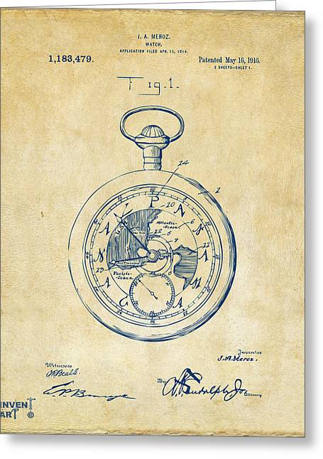Pocket Watch Greeting Cards - 1916 Pocket Watch Patent Vintage Greeting Card by Nikki Marie Smith