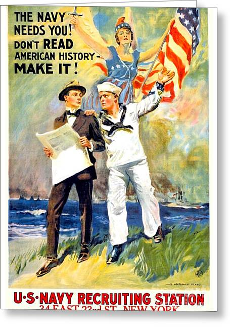 Recently Sold -  - Wwi Greeting Cards - 1917 - United States Navy Recruiting Poster - World War One - Color Greeting Card by John Madison