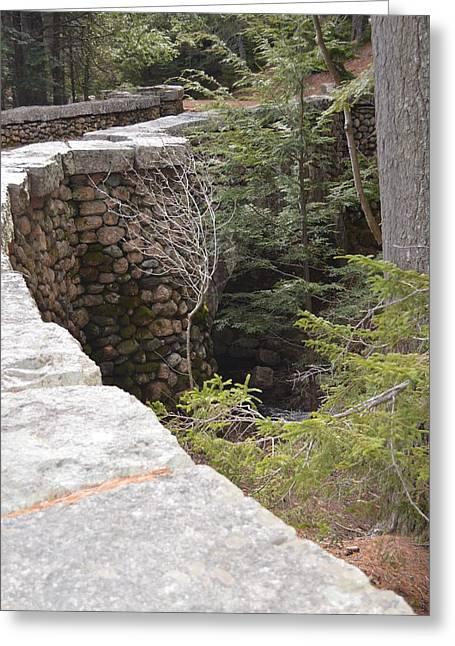 Jordan Trail Greeting Cards - 1917 Carriage Road Bridge Jordan Stream Acadia Maine Greeting Card by Lena Hatch