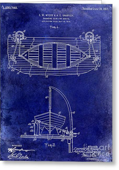 Alaska Lake Greeting Cards - 1917 Davit Patent Drawing Blue Greeting Card by Jon Neidert