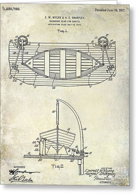 Penn Photographs Greeting Cards - 1917 Davit Patent Drawing  Greeting Card by Jon Neidert