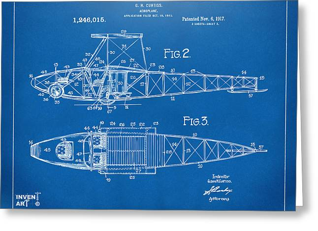 1910�s Greeting Cards - 1917 Glenn Curtiss Aeroplane Patent Artwork 2 Blueprint Greeting Card by Nikki Marie Smith