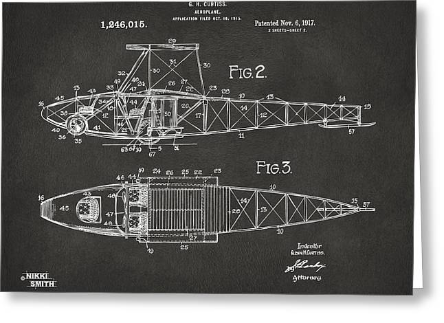 1910�s Greeting Cards - 1917 Glenn Curtiss Aeroplane Patent Artwork 2 - Gray Greeting Card by Nikki Marie Smith
