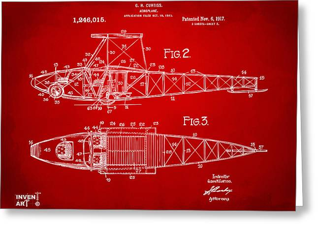 1910�s Greeting Cards - 1917 Glenn Curtiss Aeroplane Patent Artwork 2 Red Greeting Card by Nikki Marie Smith
