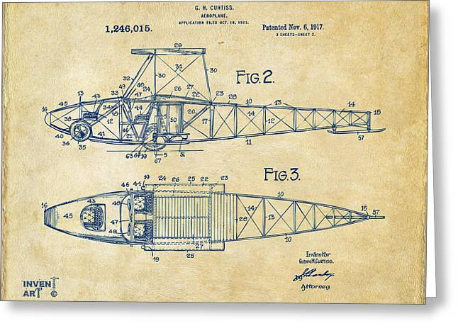 Paper Airplanes Greeting Cards - 1917 Glenn Curtiss Aeroplane Patent Artwork 2 Vintage Greeting Card by Nikki Marie Smith