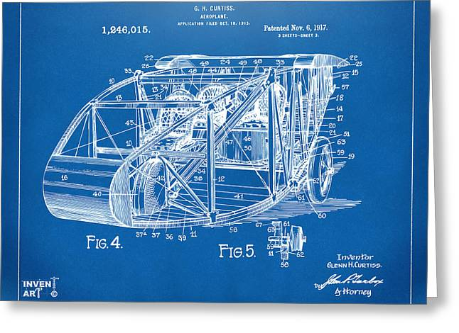Curtiss Greeting Cards - 1917 Glenn Curtiss Aeroplane Patent Artwork 3 Blueprint Greeting Card by Nikki Marie Smith