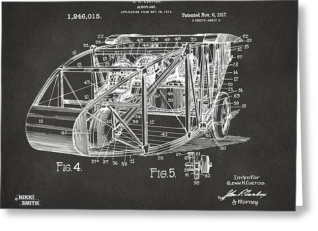 Grey Fine Art Greeting Cards - 1917 Glenn Curtiss Aeroplane Patent Artwork 3 - Gray Greeting Card by Nikki Marie Smith