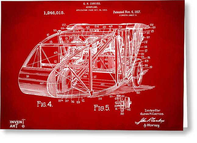 1910�s Greeting Cards - 1917 Glenn Curtiss Aeroplane Patent Artwork 3 Red Greeting Card by Nikki Marie Smith