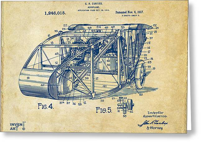 Paper Airplanes Greeting Cards - 1917 Glenn Curtiss Aeroplane Patent Artwork 3 Vintage Greeting Card by Nikki Marie Smith