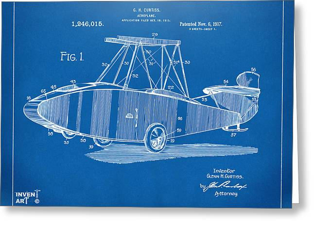 1910�s Greeting Cards - 1917 Glenn Curtiss Aeroplane Patent Artwork Blueprint Greeting Card by Nikki Marie Smith