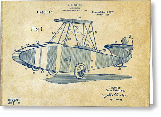 Paper Airplanes Greeting Cards - 1917 Glenn Curtiss Aeroplane Patent Artwork Vintage Greeting Card by Nikki Marie Smith