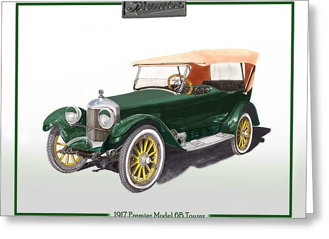 Three Speed Greeting Cards - 1917 Premier One Touring Sedan Greeting Card by Jack Pumphrey
