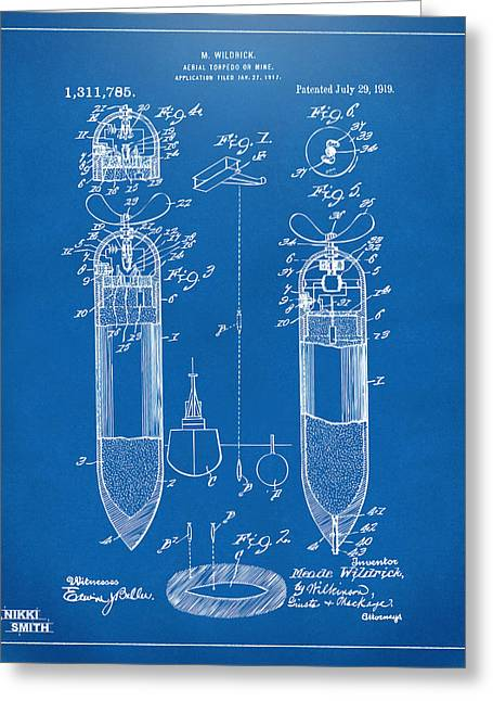 Gift For Greeting Cards - 1919 Aerial Torpedo Patent Artwork - Blueprint Greeting Card by Nikki Marie Smith