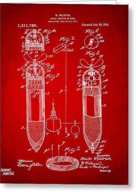 Gift For Greeting Cards - 1919 Aerial Torpedo Patent Artwork - Red Greeting Card by Nikki Marie Smith