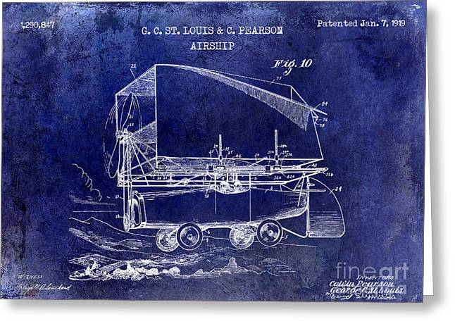 Vintage Aircraft Greeting Cards - 1919 Airship Patent Drawing Blue Greeting Card by Jon Neidert